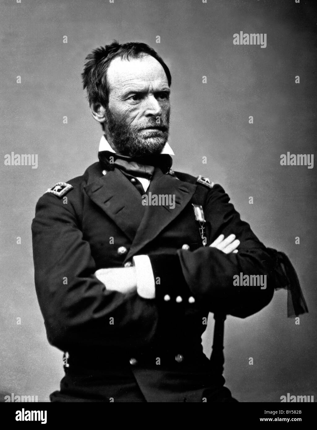WILLIAM SHERMAN (1820-1891) Union army commander in American Civil War here as Major General, May 1865. See Description - Stock Image