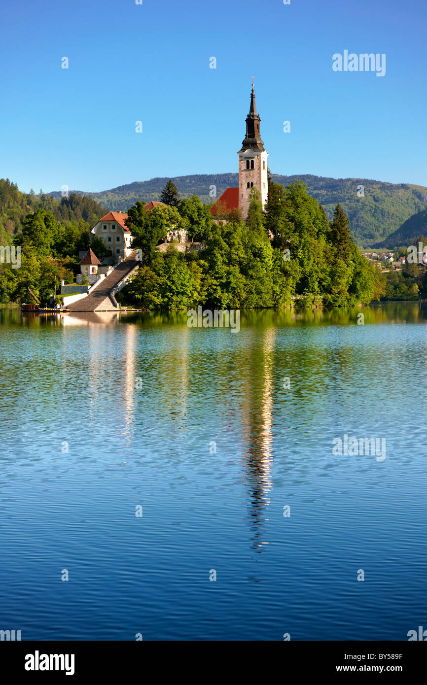 Assumption of Mary Pilgrimage Church in the middle of Lake Bled Slovenia. - Stock Image