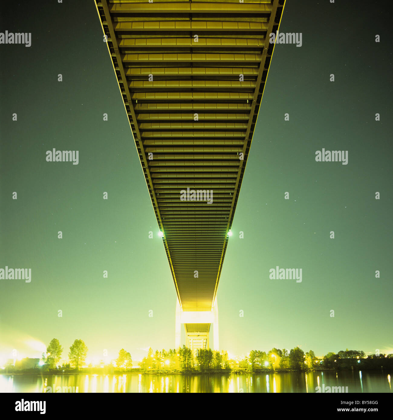 A bridge at night - Stock Image
