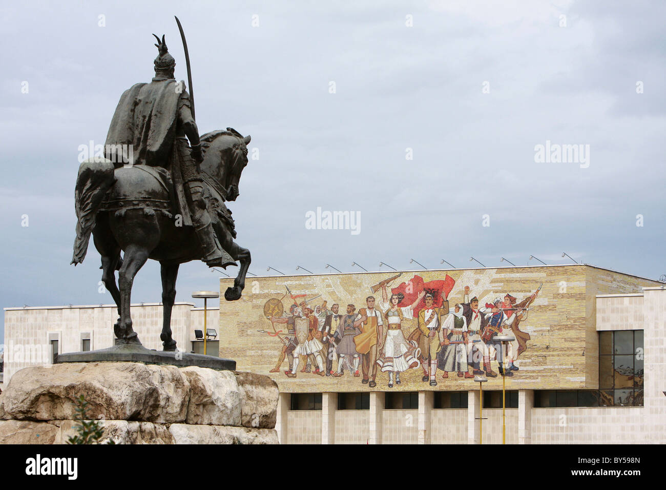 Albania Tirane Tirana Equestrian statue of George Castriot Skanderbeg, the Albanian national hero outside the National - Stock Image
