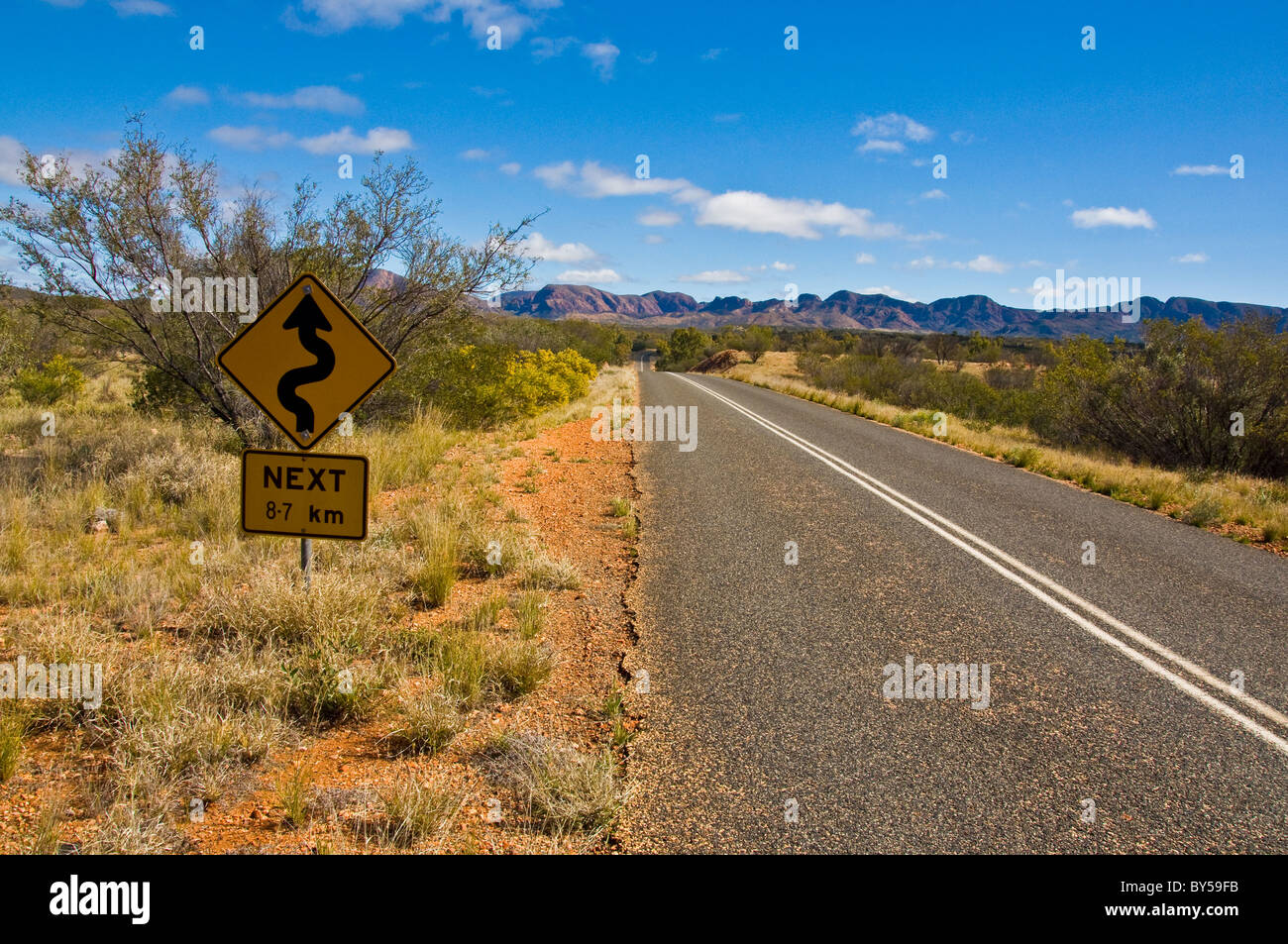 bush and road on the outback, northern territory australia - Stock Image