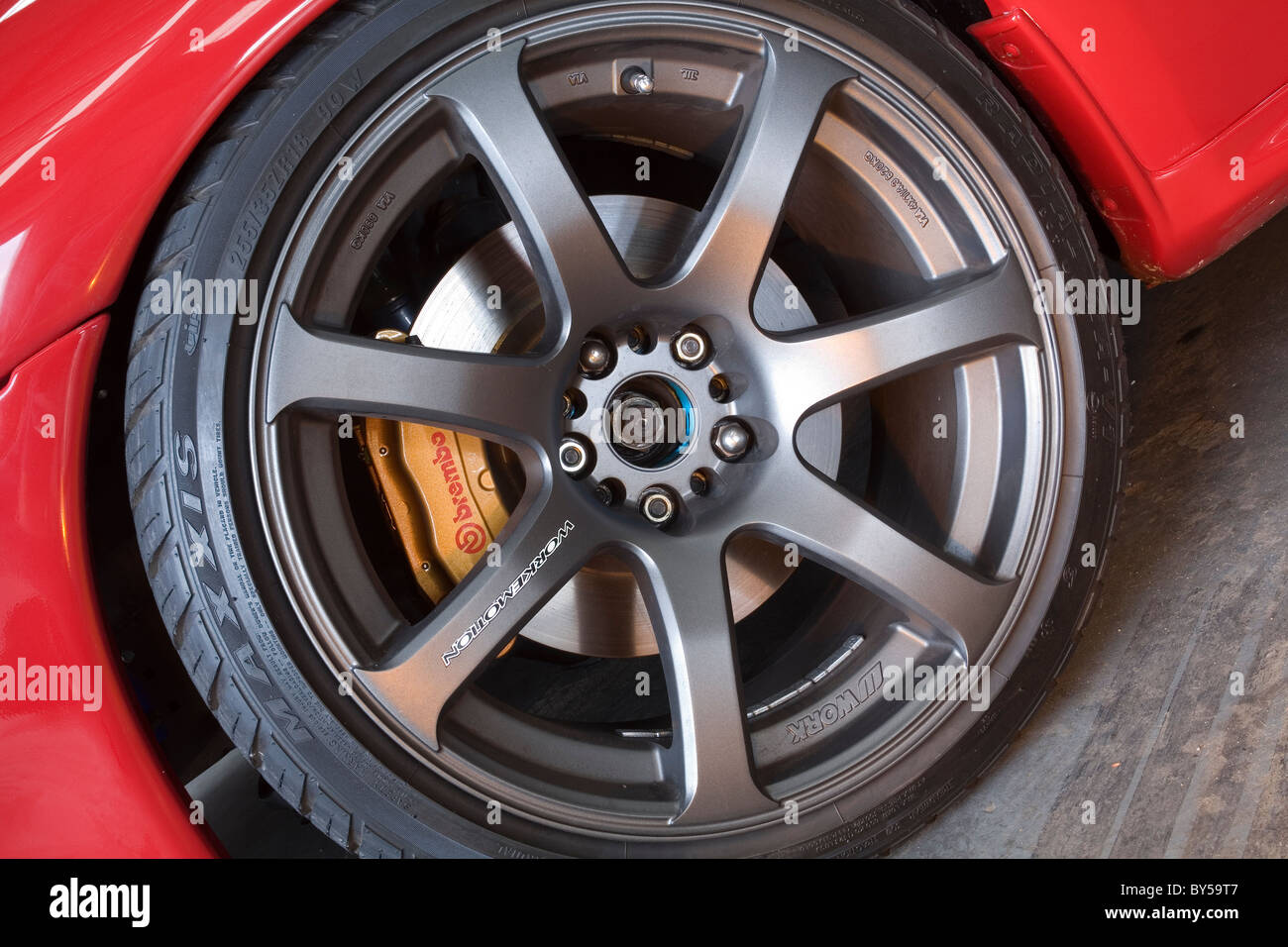 Alloy Metal Wheel Tyre Brembo Brake Caliper Disc On A Japanese