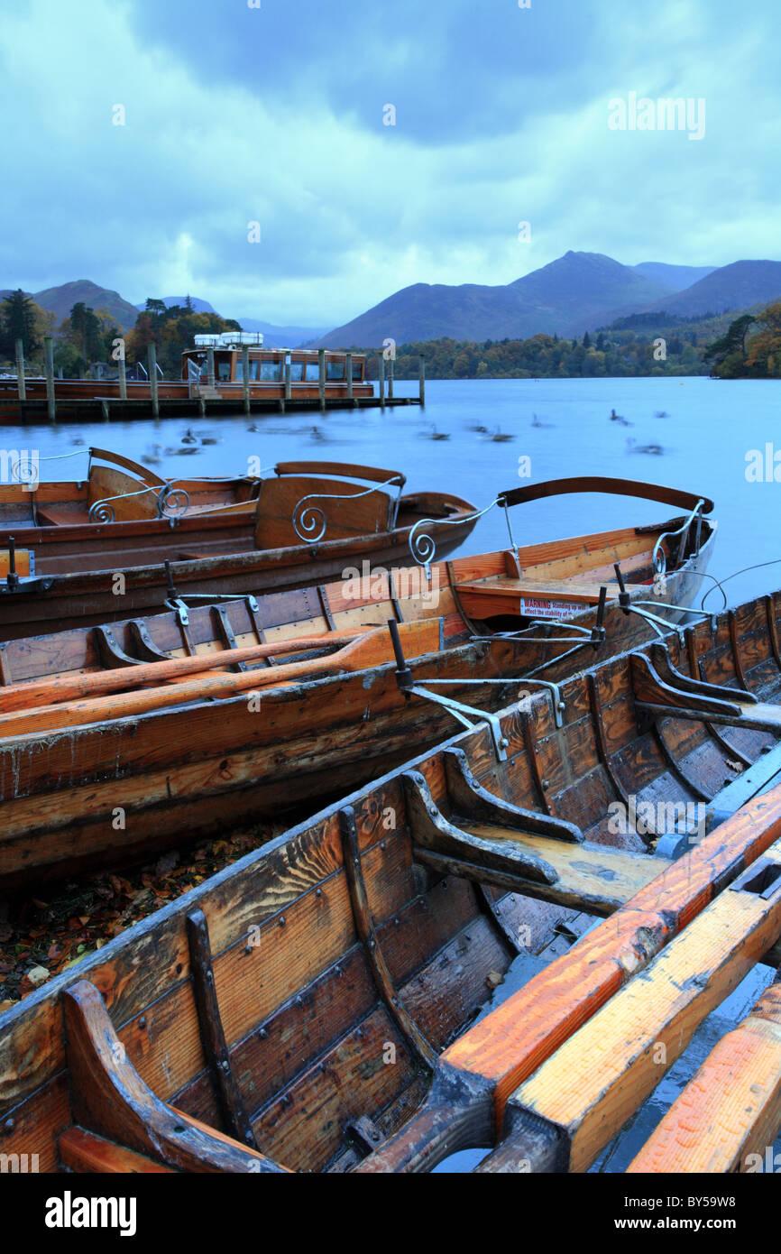 Derwentwater rowing boats Lakeside, Keswick, English Lakes District, uk - Stock Image