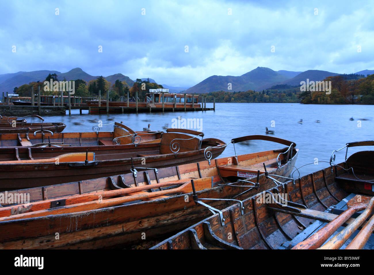 Derwentwater rowing boats Kewsick, Launch. Lake District, England, UK - Stock Image