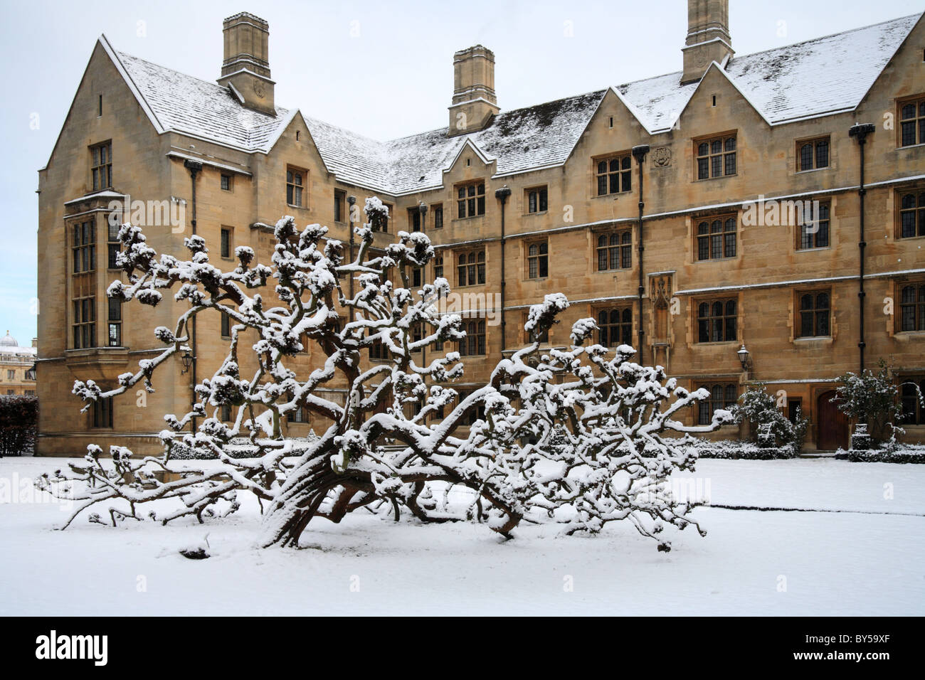 Kings College Cambridge in the snow 'Bodley's Court' Cambridge University - Stock Image
