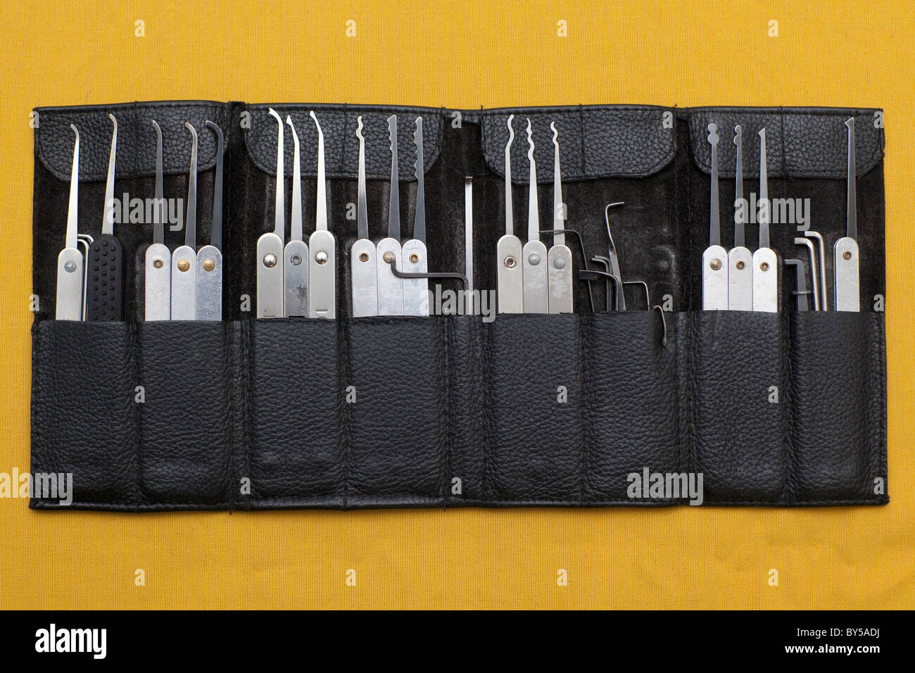 Lock picking set in a leather pouch - Stock Image