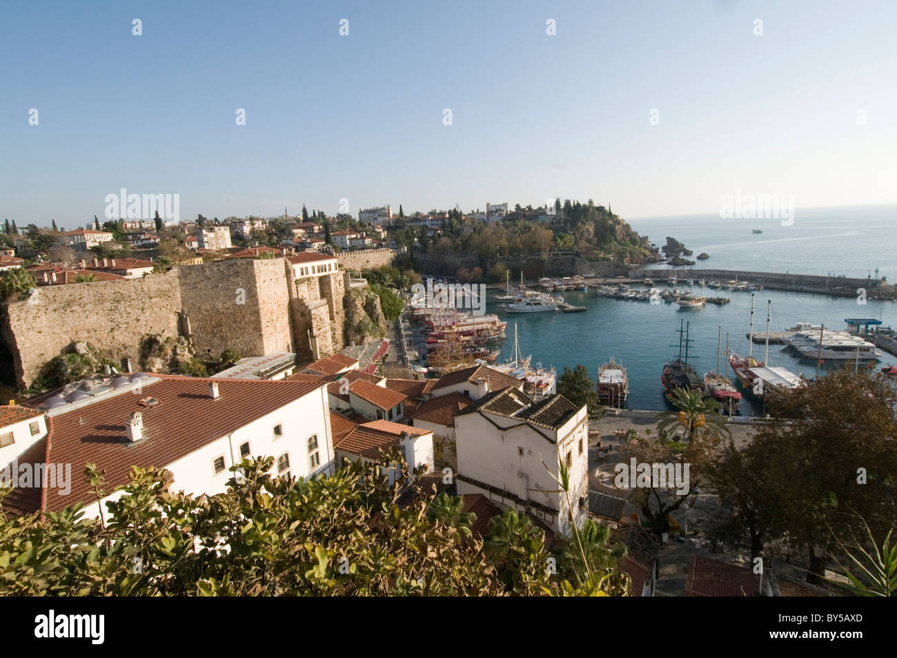 antalya harbor turkey turkish holiday resort old town destination tourist tourism vacation - Stock Image
