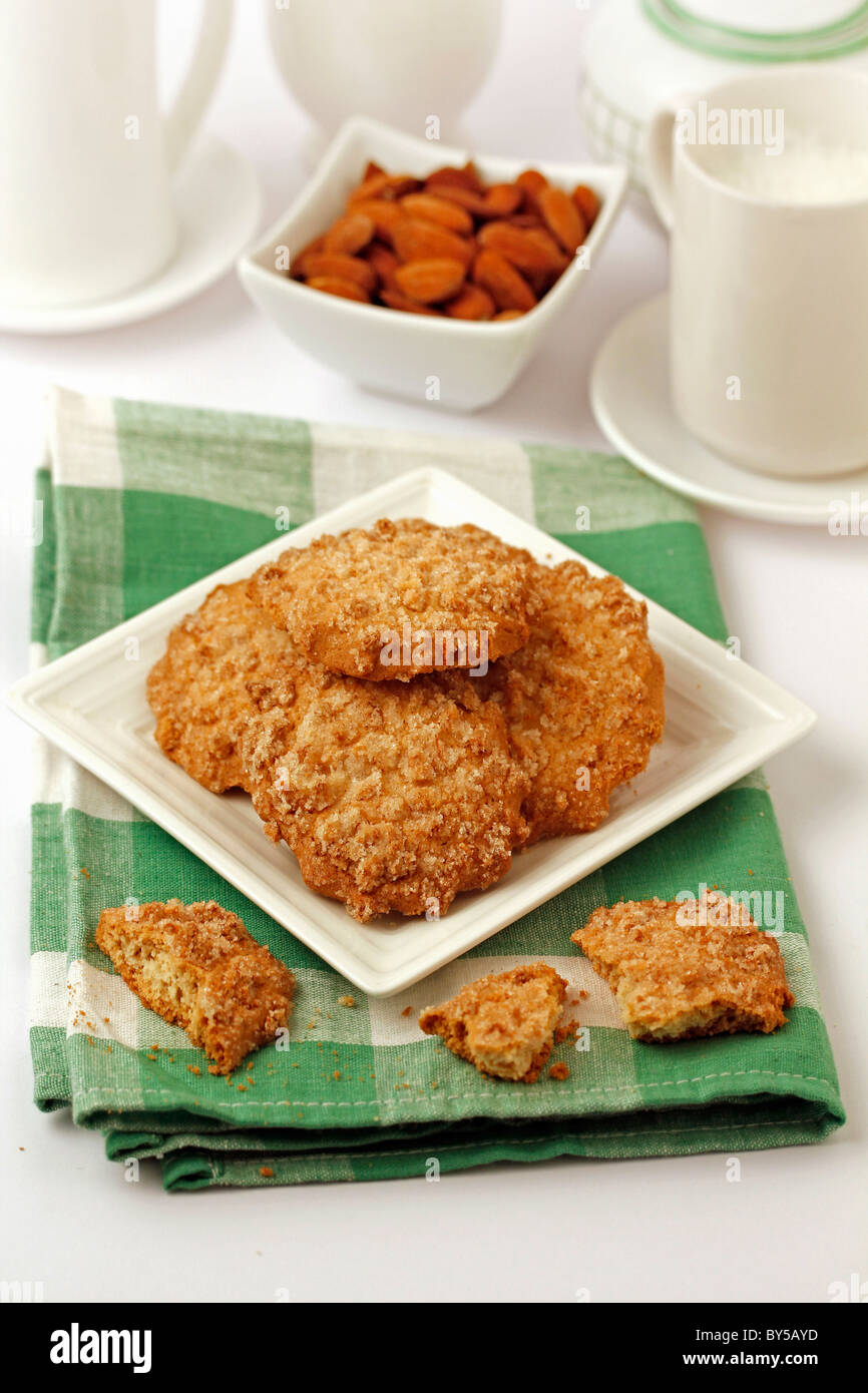 Almonds and orange pastries. Recipe available. - Stock Image