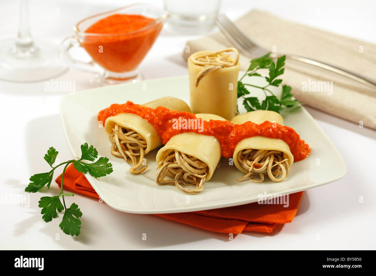 Stuffed pasta with small eels (substitute). Recipe available. - Stock Image
