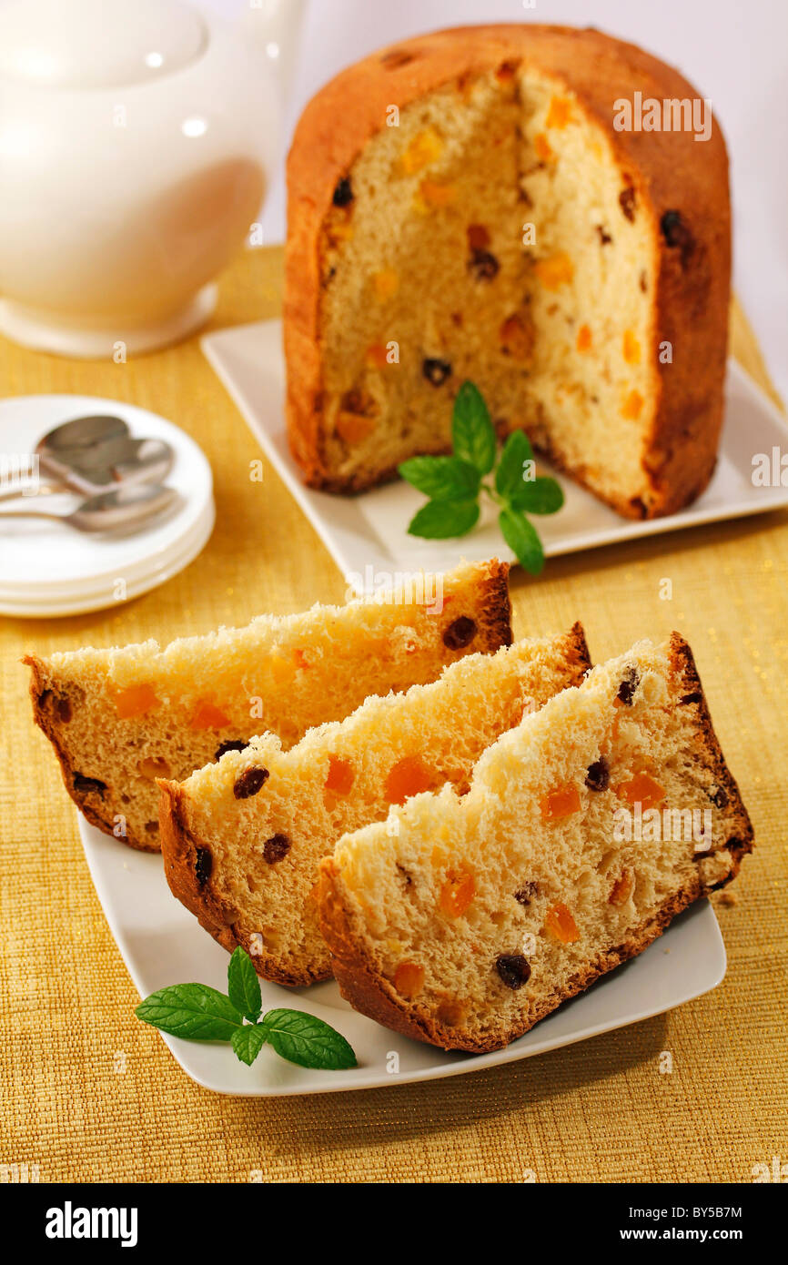 Panettone with orange and raisins. Recipe available. - Stock Image