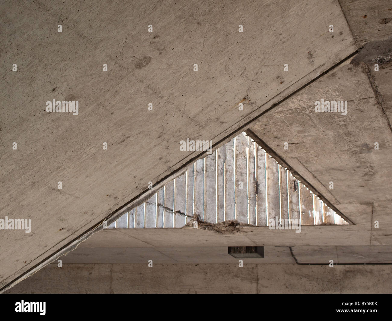 Acute angle of a ceiling - Stock Image