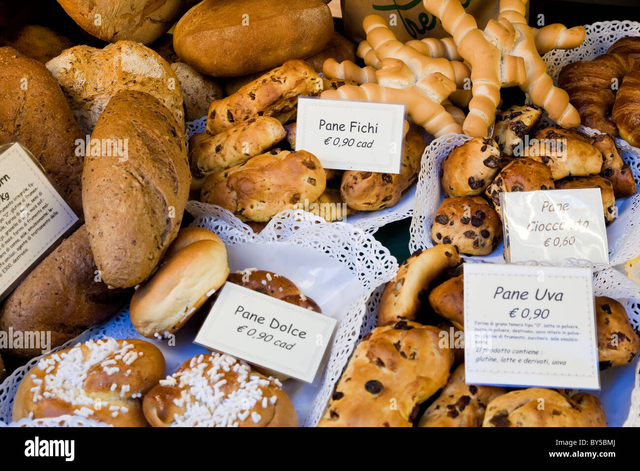 Bread shop window, Bergamo, Lombardy, Italy Stock Photo