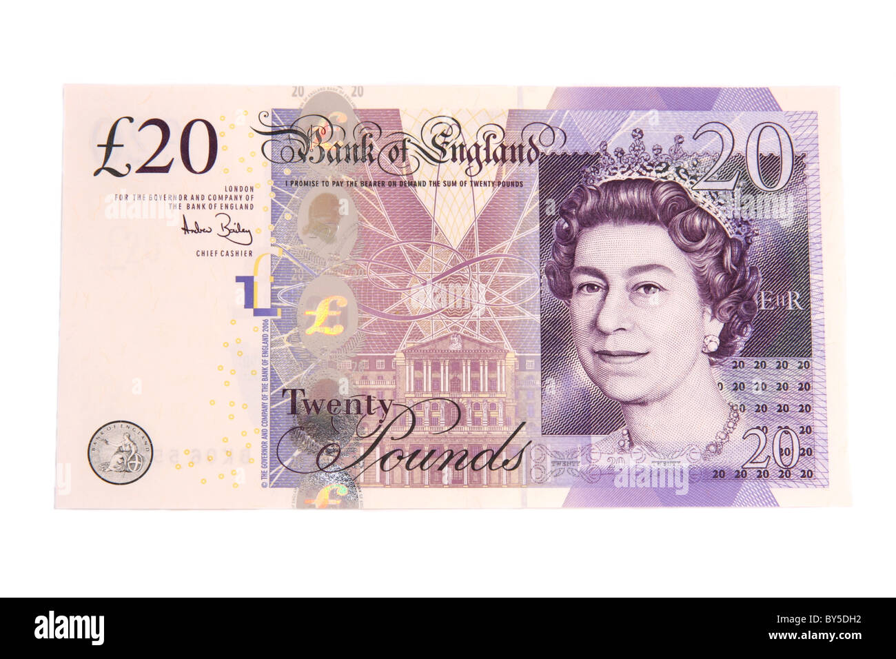 The front of a modern English twenty pound note. - Stock Image