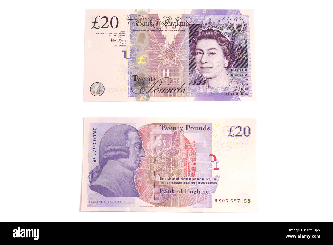 The front and back of a modern English twenty pound note. - Stock Image