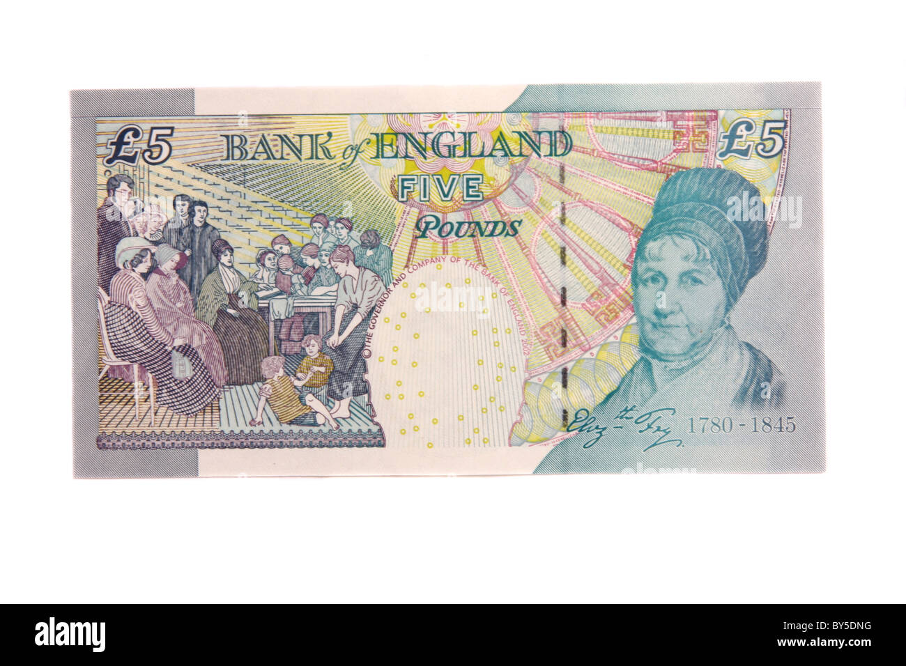 The back of a modern English five pound note featuring Elizabeth Fry. - Stock Image