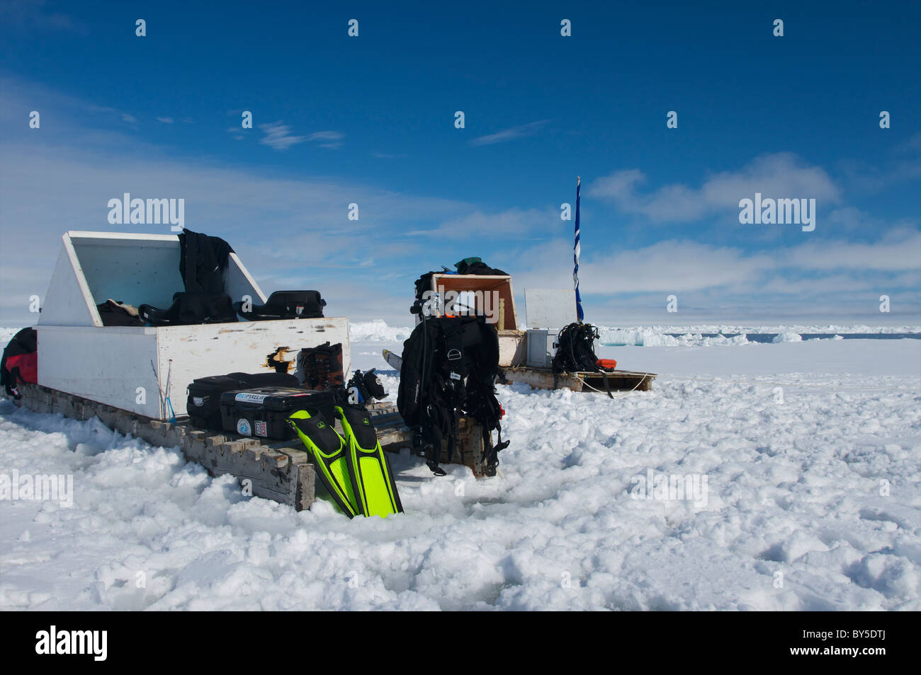 Canadian Arctic diving on the floe edge Pond Inlet, Baffin Island, Nunavut, Canada - Stock Image