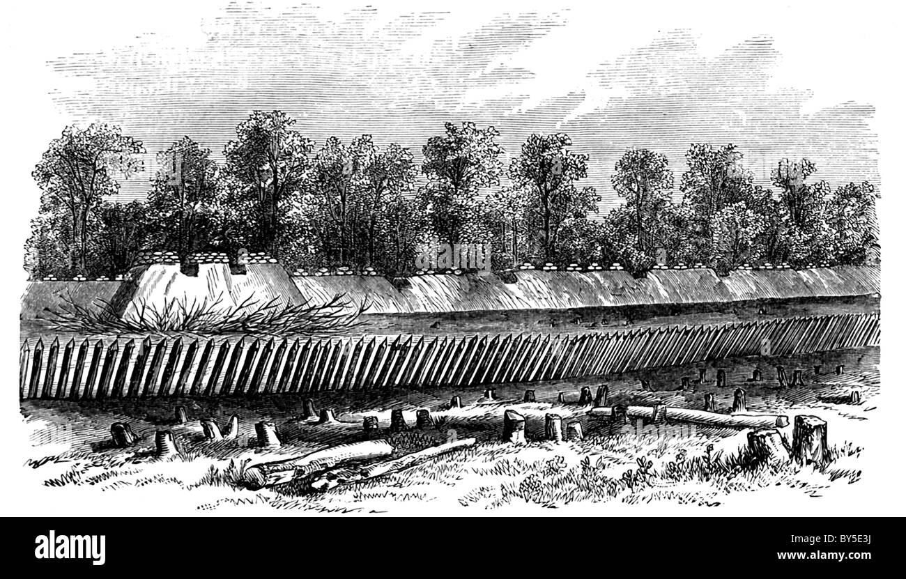 This 1866 engraving shows the defense line constructed by Confederate General Weitzel near Petersburg, Pennsylvania. - Stock Image