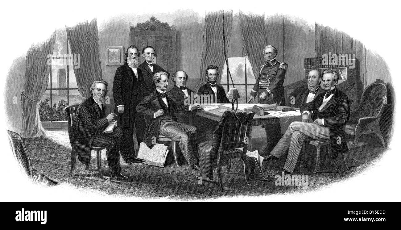 President Abraham Lincoln meets with cabinet and Lt. General Winfield Scott (in uniform) in the Council Chamber - Stock Image