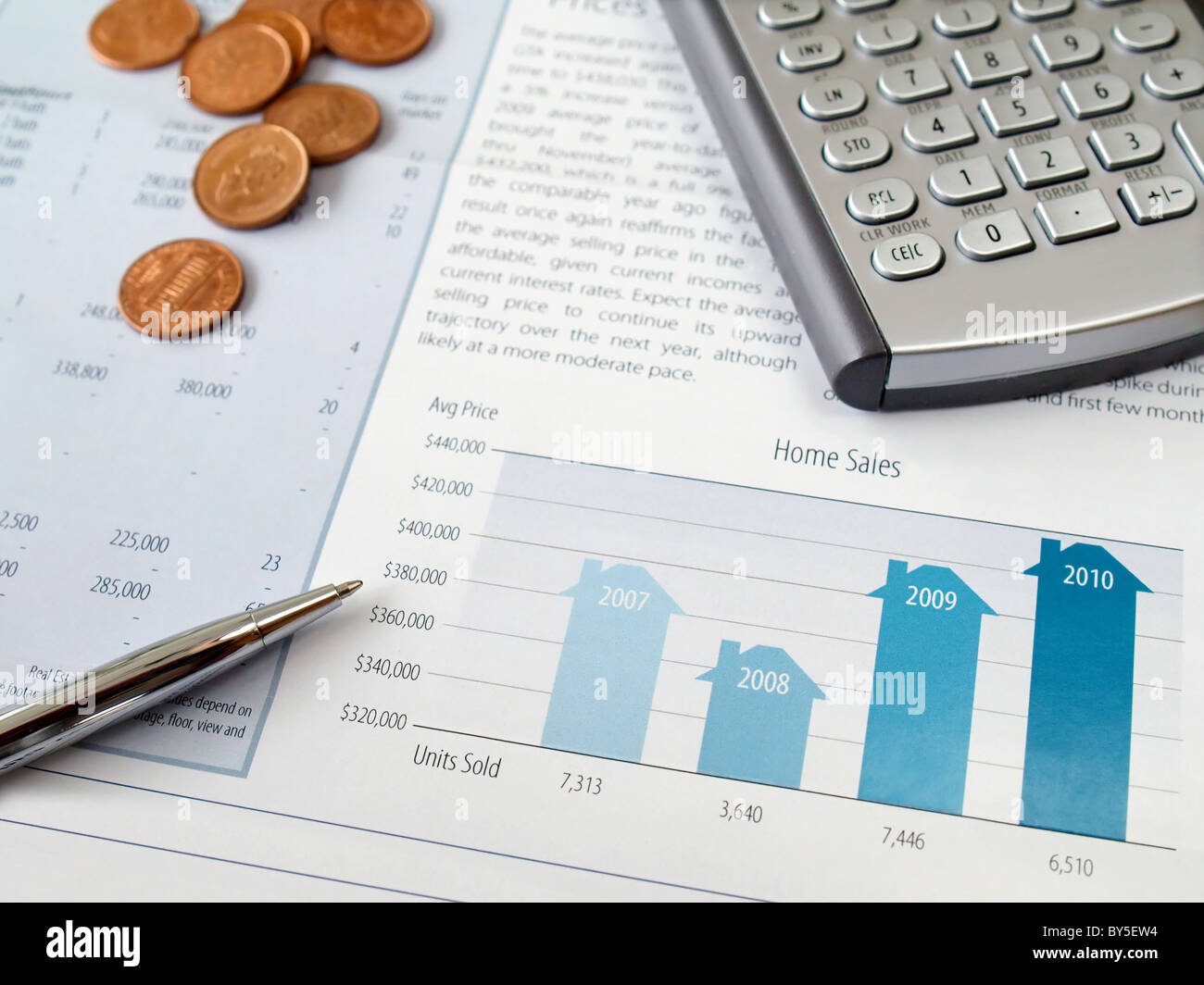 pen coins and calculator on the home sales chart stock photo