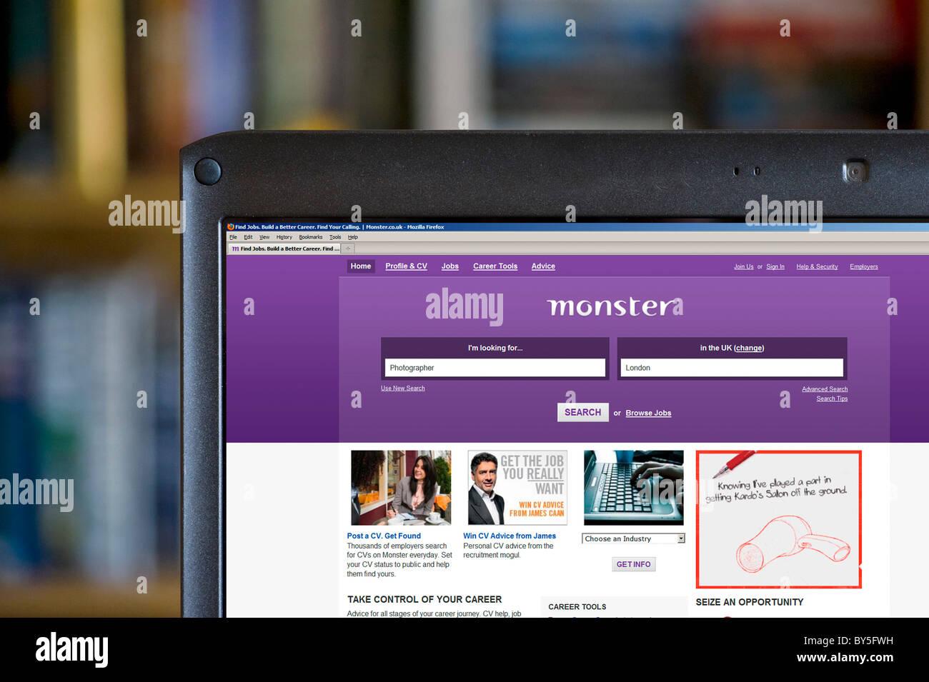 The Monster online job search website, UK - Stock Image