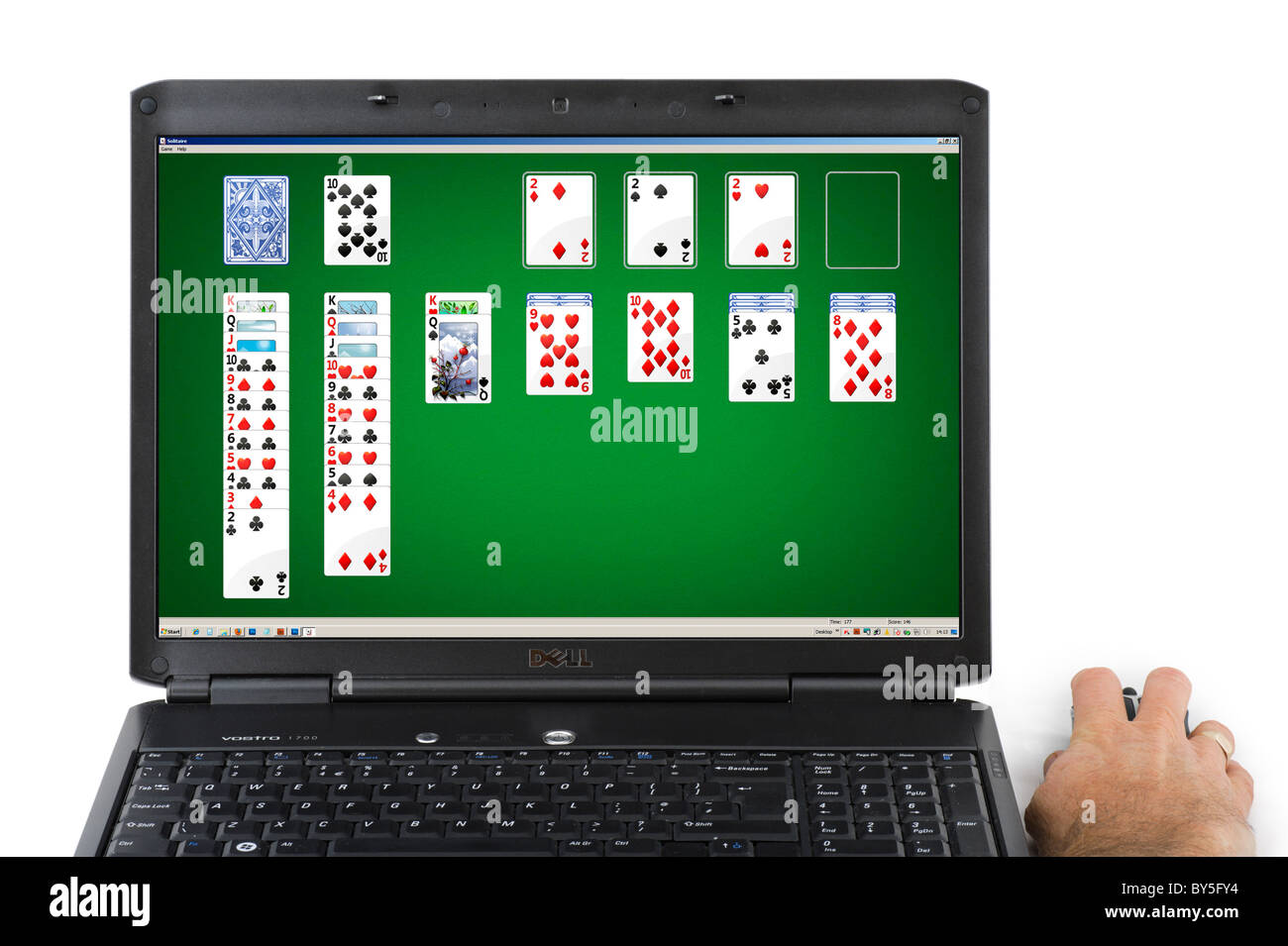 Playing Solitaire in Microsoft Windows7 - Stock Image