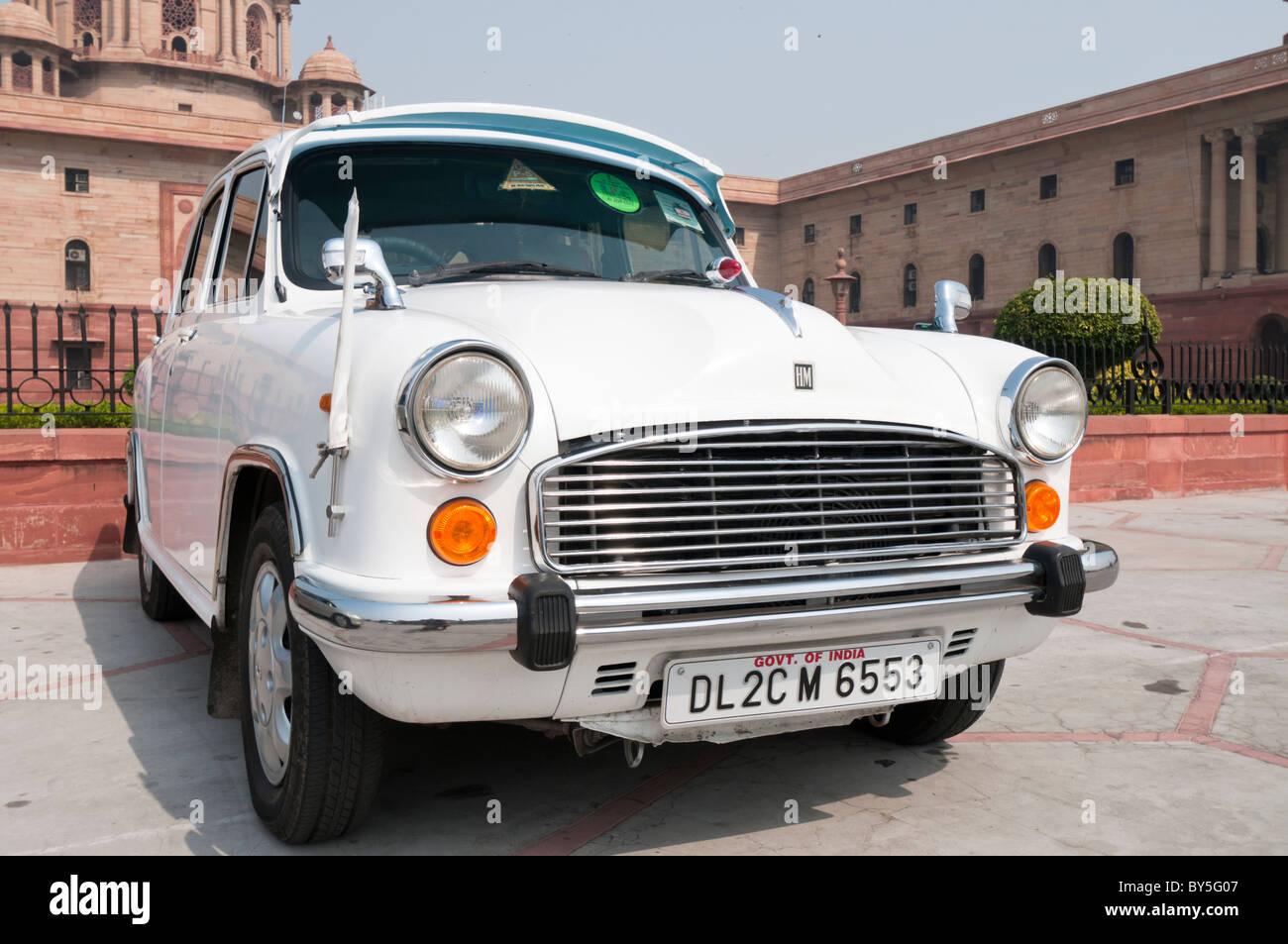 White Ambassador Car - Stock Image