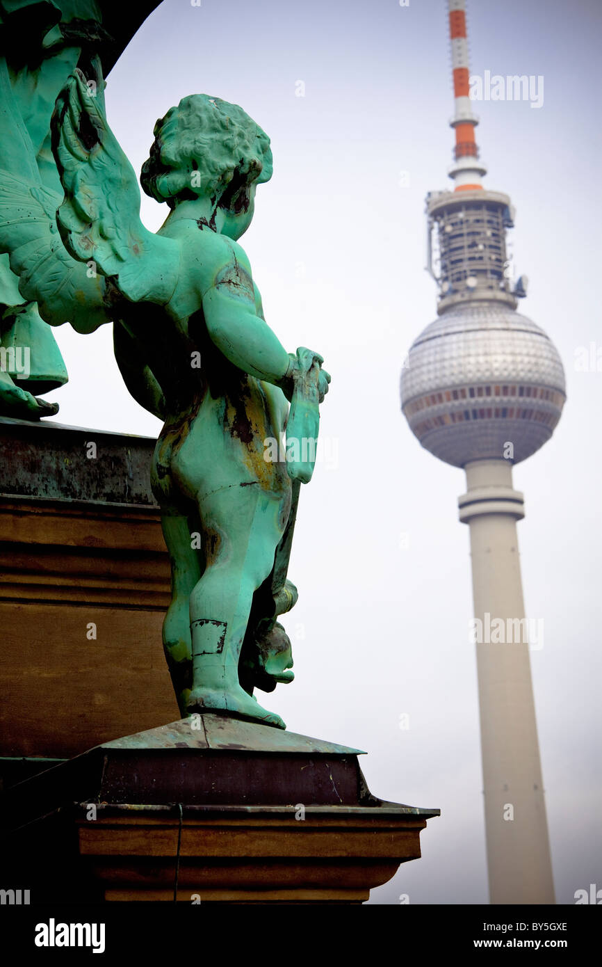 Germany,Berlin, the Berlin television broadcast tower at Alexander platz and the Berliner Dom - Stock Image