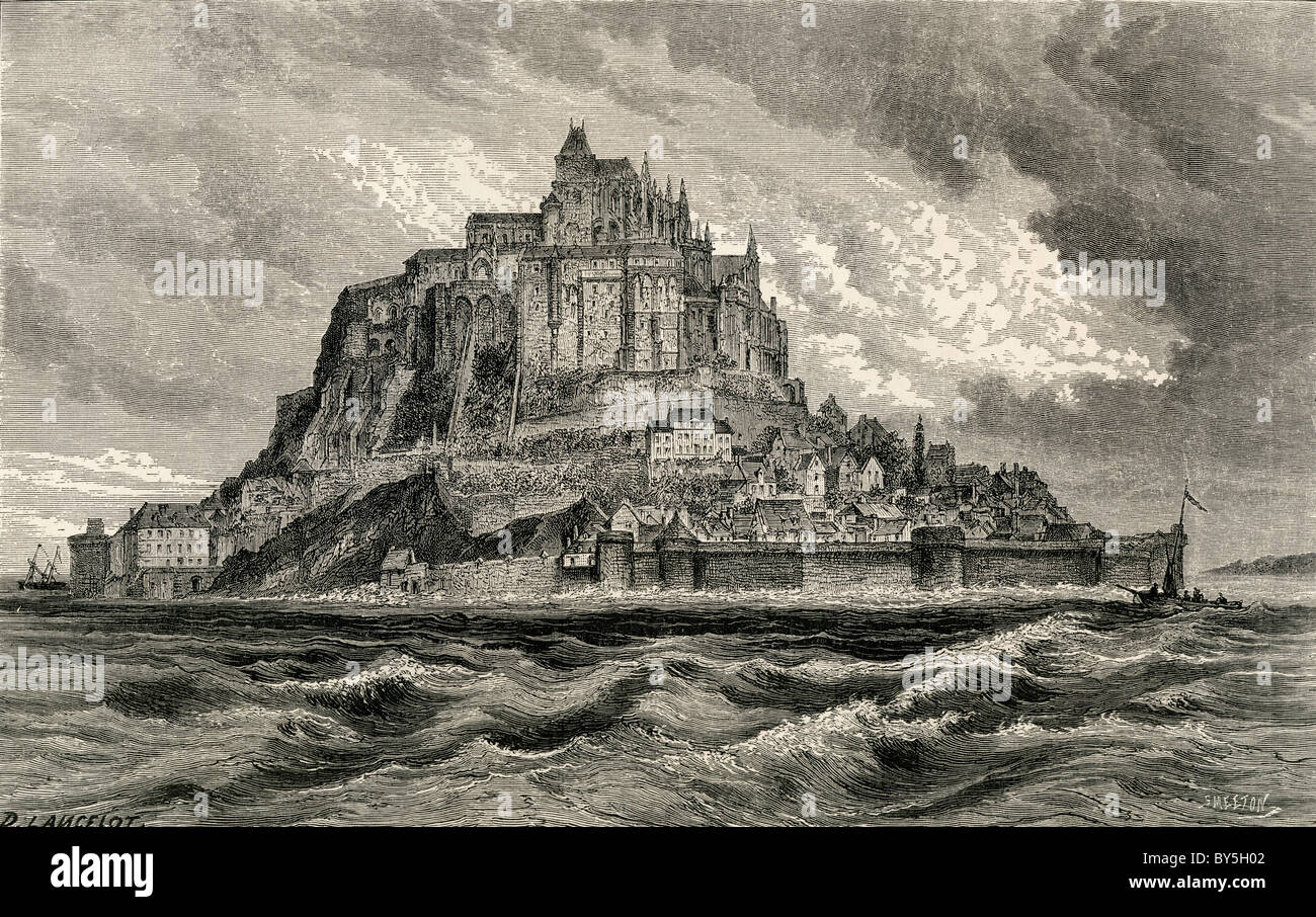 Mont Saint-Michel, Normandy, France in the19th century. - Stock Image