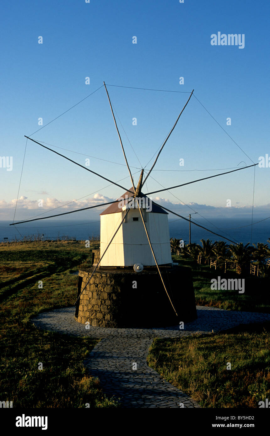 A traditional wooden windmill dating from the late 18th century located on Porto Santo island in the Atlantic Ocean - Stock Image