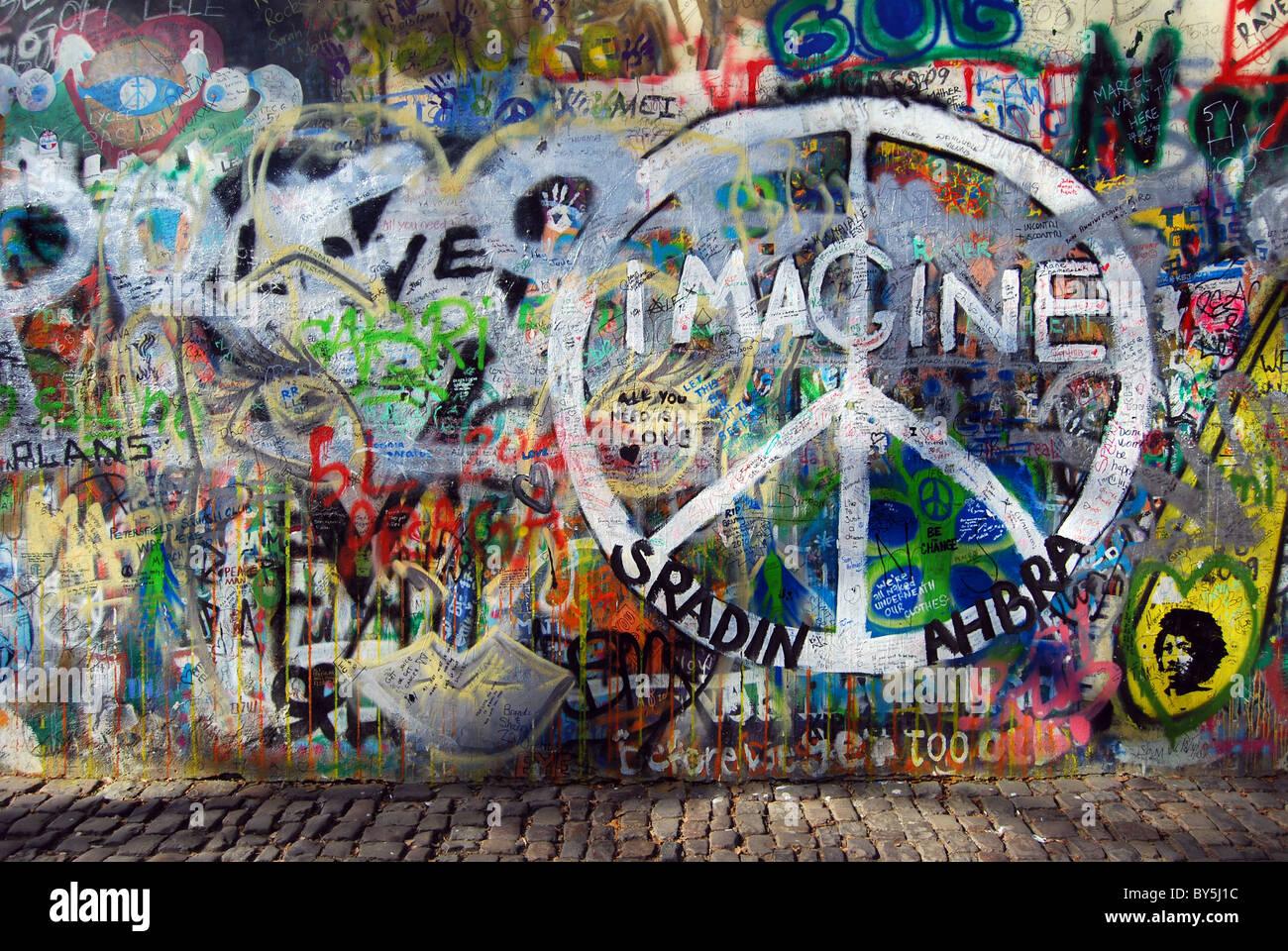 Prague Peace Wall - Stock Image