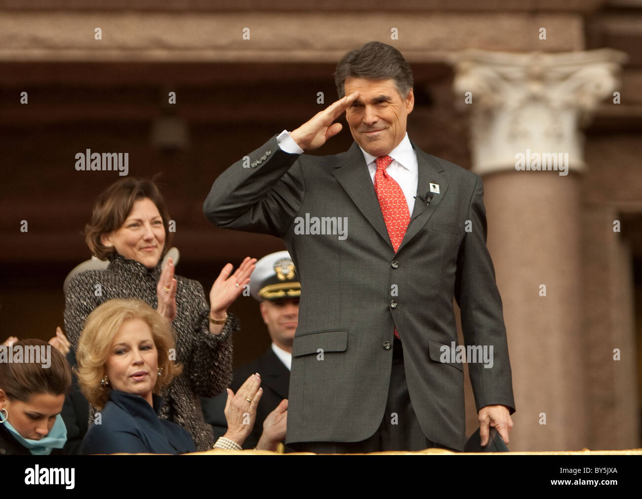 Texas Governor Rick Perry salutes the crowd after being sworn-in for his 3rd full term on January 18th at the Texas - Stock Image