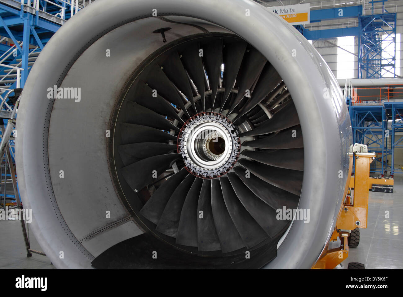 Rolls-Royce Trent 700 turbofan jet engine undergoing maintenance - Stock Image