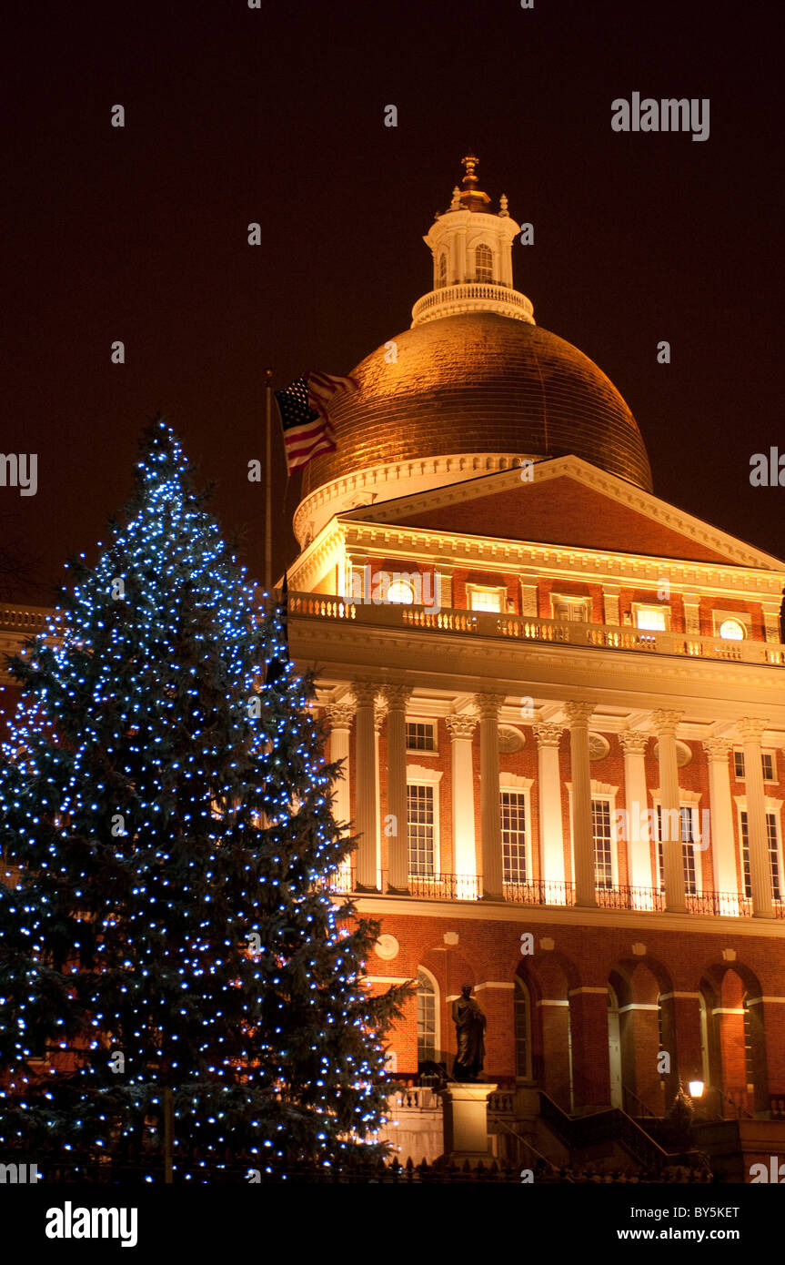 Christmas tree in front of Massachusetts State Capitol building Boston Massachusetts USA - Stock Image