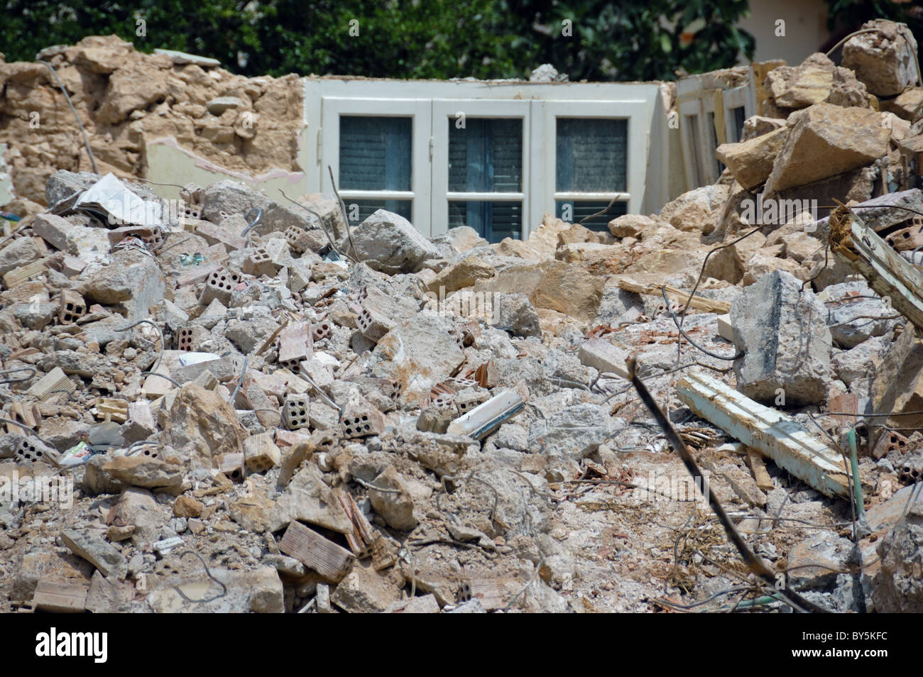 Pile of rubble from a demolished house. - Stock Image