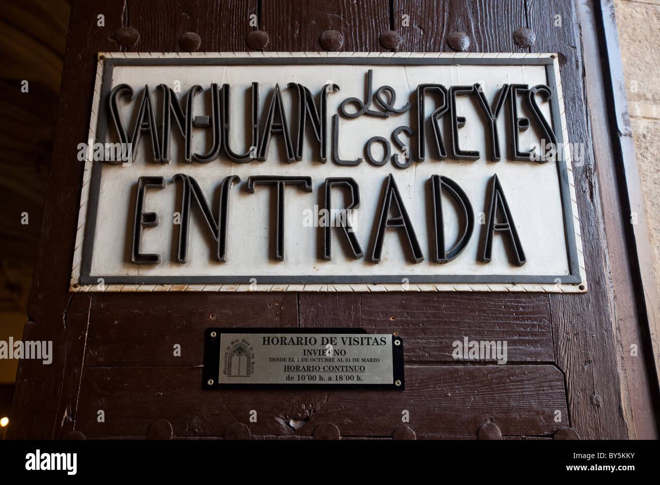 Sign outside of the convent of San Juan de los Reyes. Toledo, Spain - Stock Image