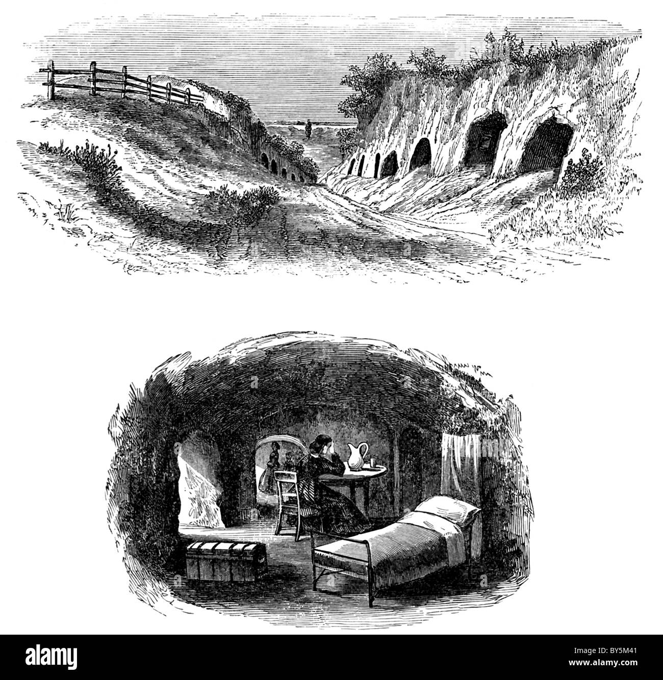 These engravings date to April 1886 and illustrate the caves near Vicksburg, Mississippi in the Civil War. - Stock Image