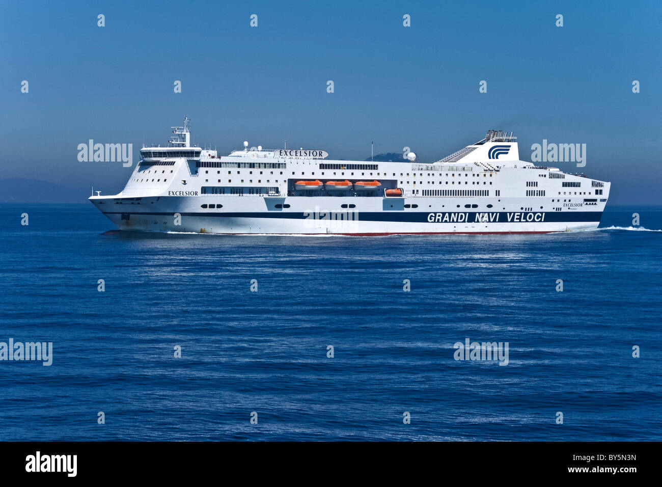 Grandi Navi Veloci ferry Excelsior at sea en route to Barcelona from Genoa Stock Photo