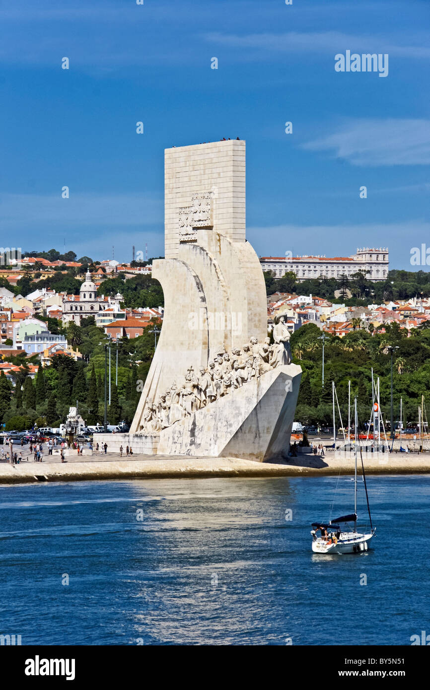 The Discoveries Monument on the north bank of The Tagus River in Lisbon Portugal - Stock Image