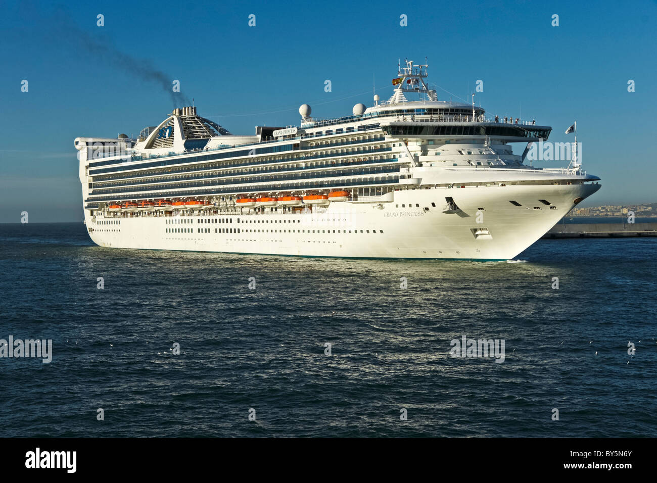 Princess Cruises Grand class cruise ship Grand Princess arriving at Malaga in Spain - Stock Image