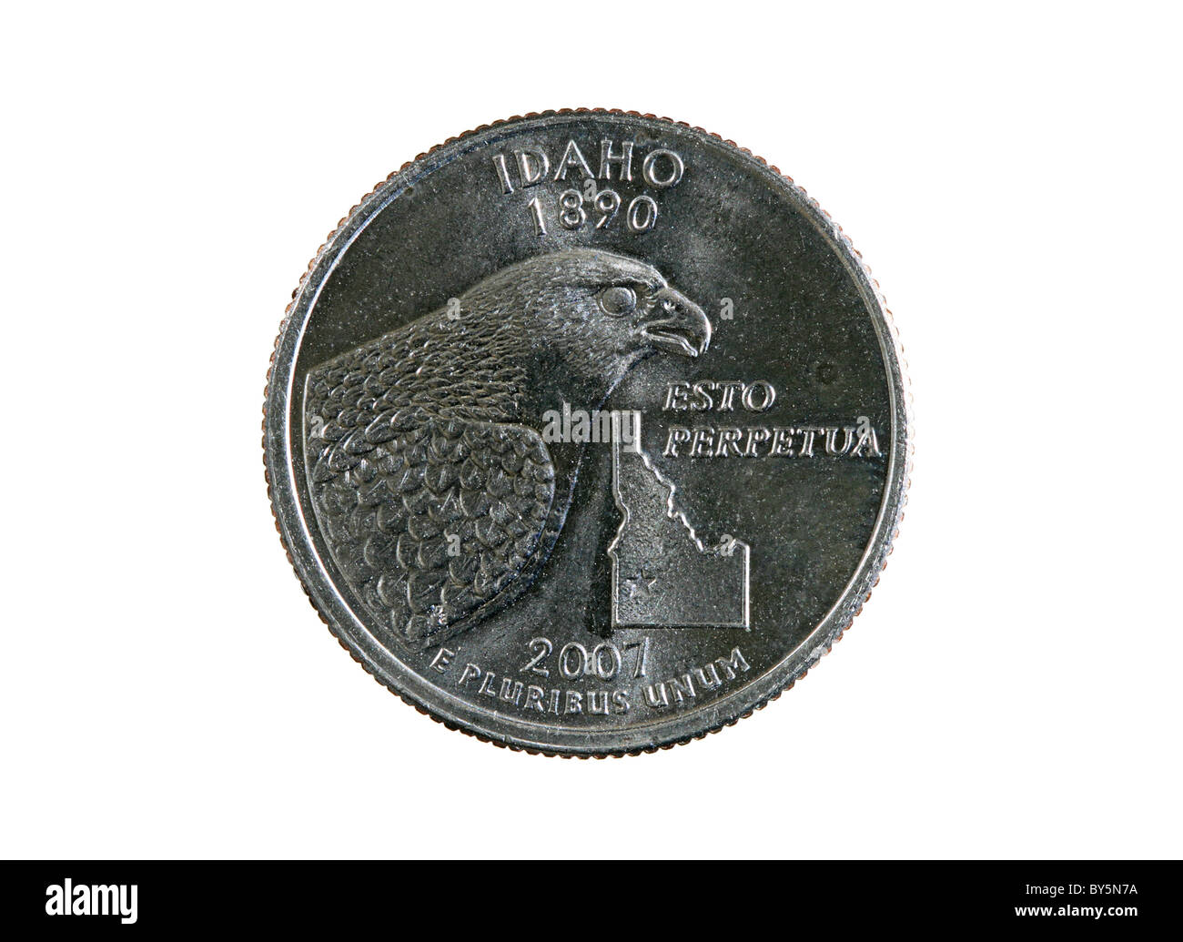 Idaho state quarter coin isolated on white background - Stock Image