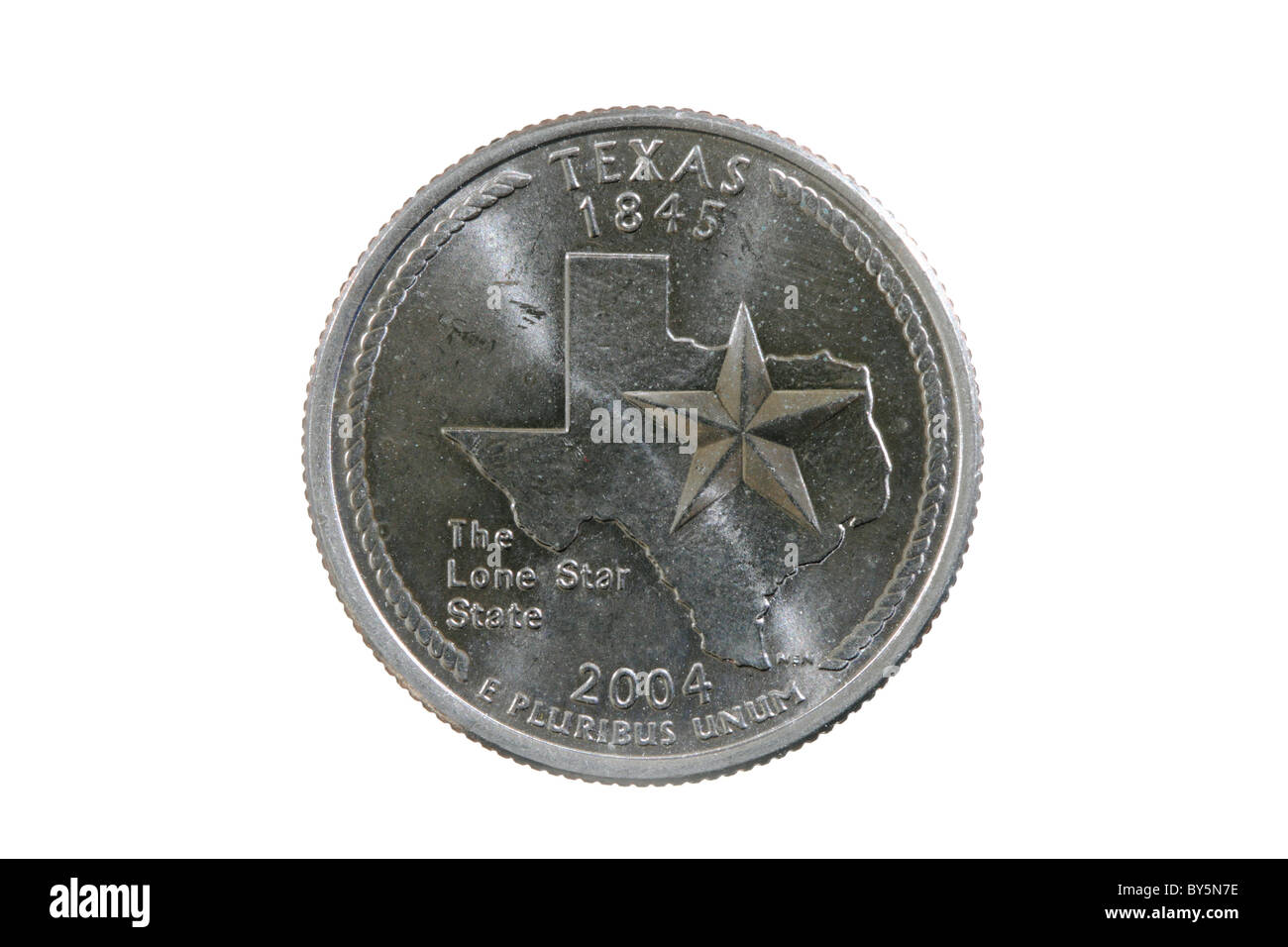 Texas state quarter coin isolated on white background - Stock Image