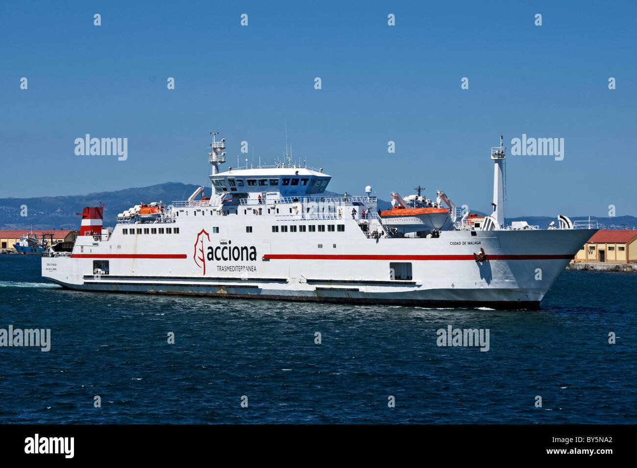 Acciona Trasmediterranea ferry Ciudad de Malaga at Ceuta in Spanish Morocco - Stock Image