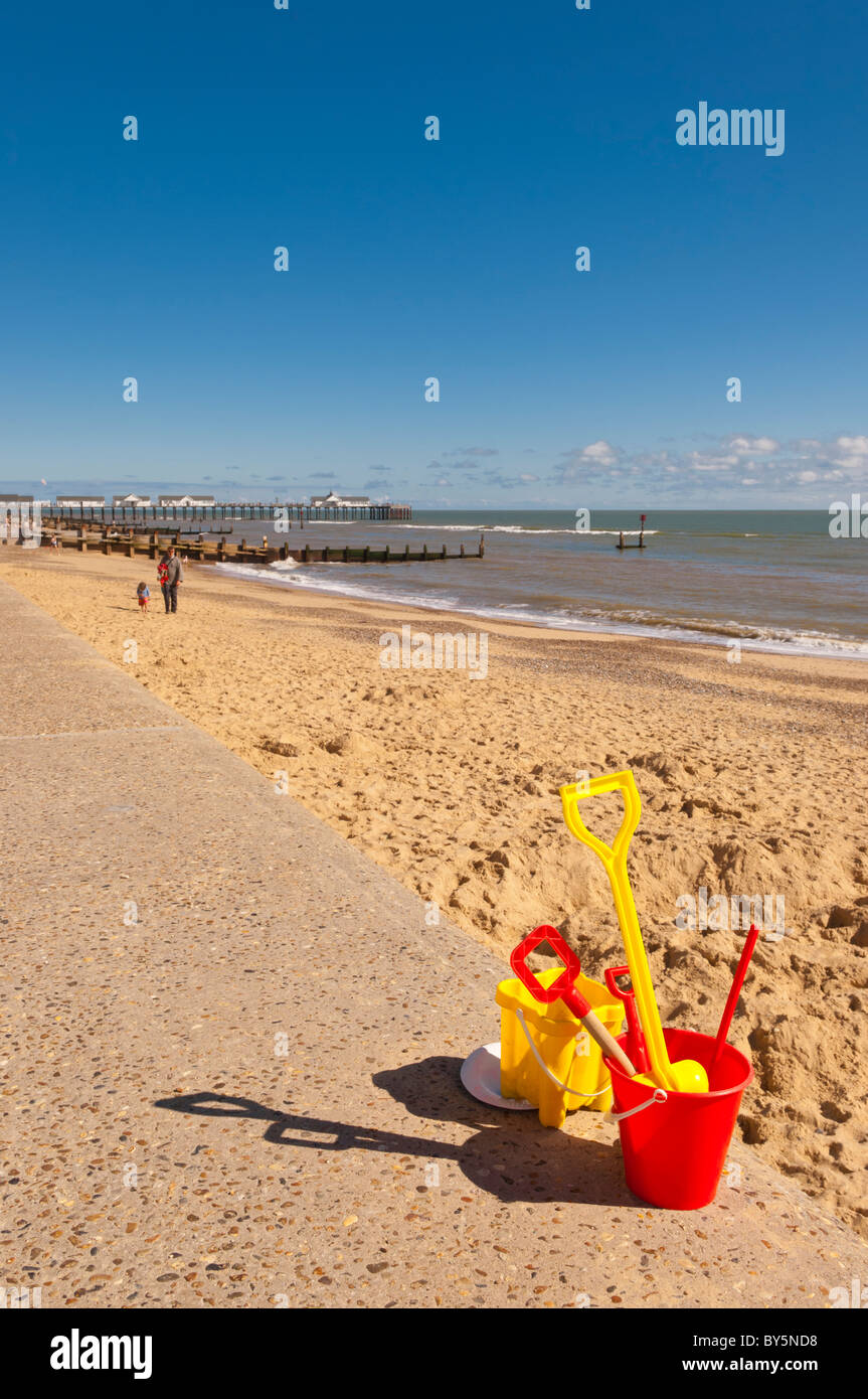 A bucket and spade on the seafront in Southwold , Suffolk , England , Britain , Uk - Stock Image
