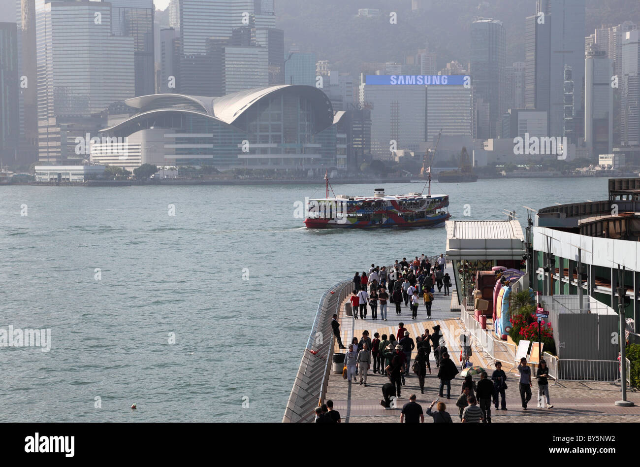 People walking at the Avenue of Stars in Hong Kong - Stock Image