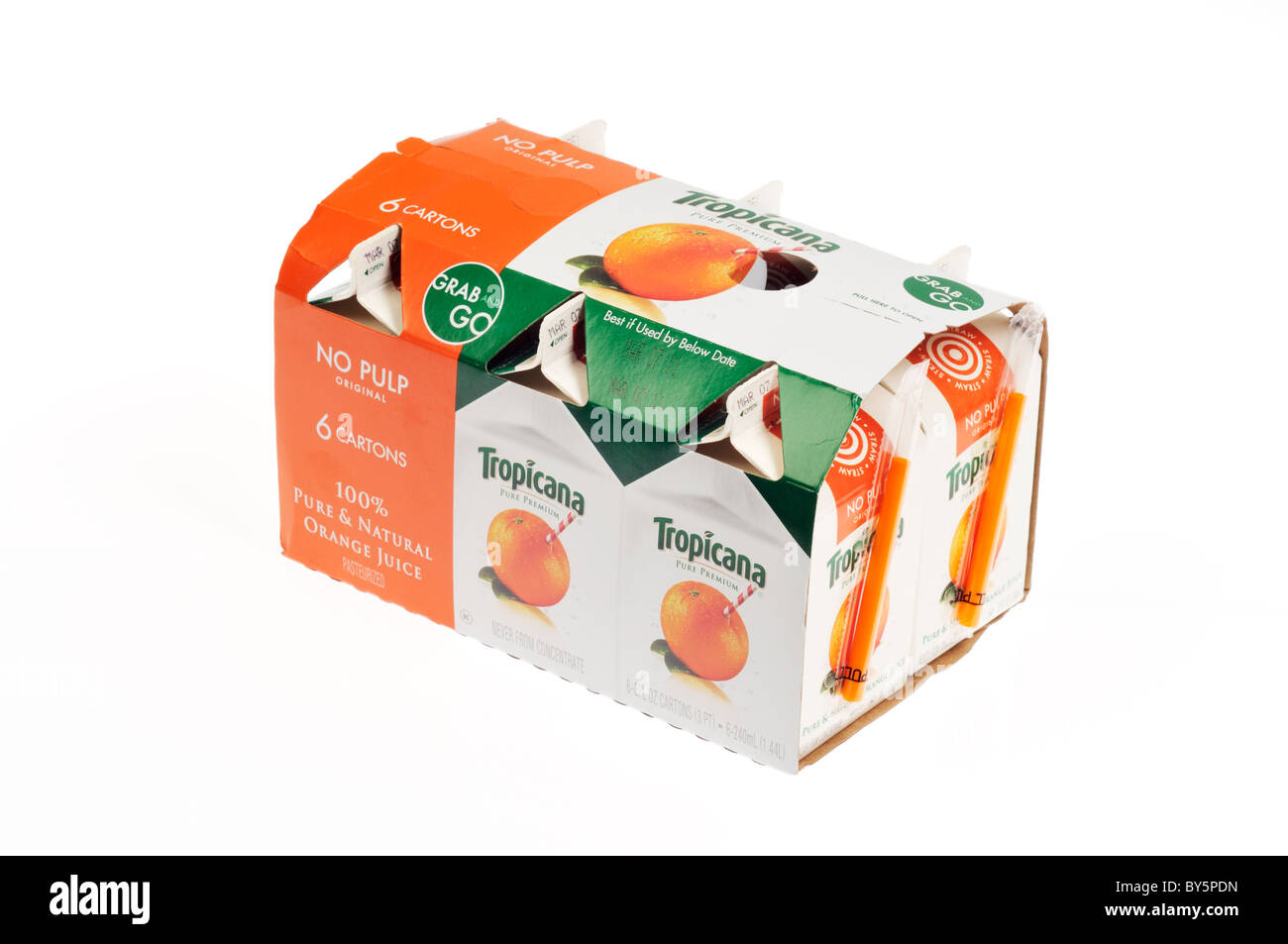 A 6 pack of small cartons of tropicana orange juice on white background, cutout. Stock Photo