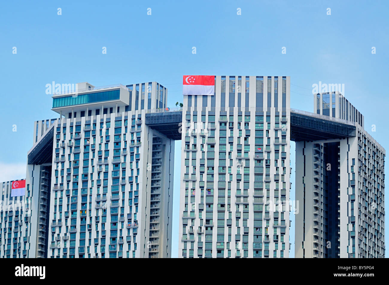 The Pinnacle at Duxton, the tallest public housing building in Singapore. - Stock Image