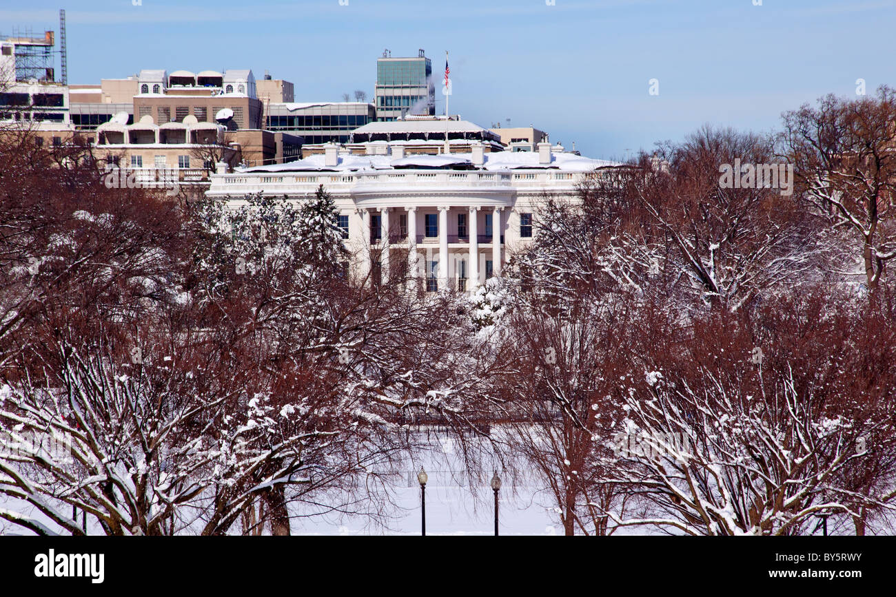 White House After the Snow Constitution Avenue Washington DC - Stock Image