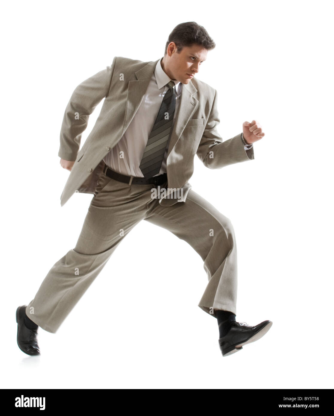 Photo of angry businessman going to subordinate person Stock Photo