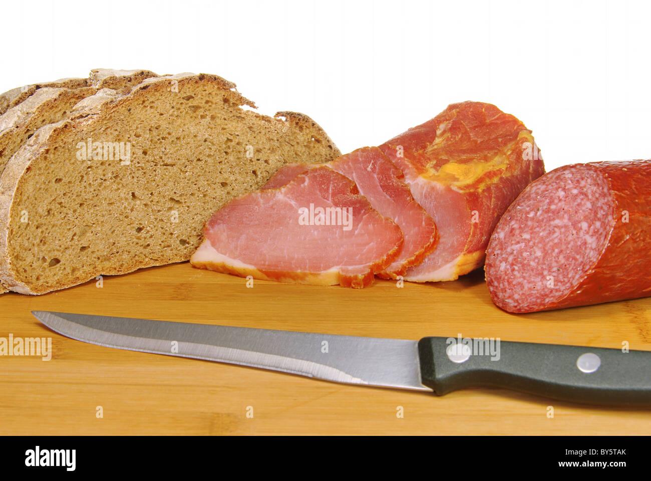 Schinken Brot Salami - ham bread salami 01 - Stock Image