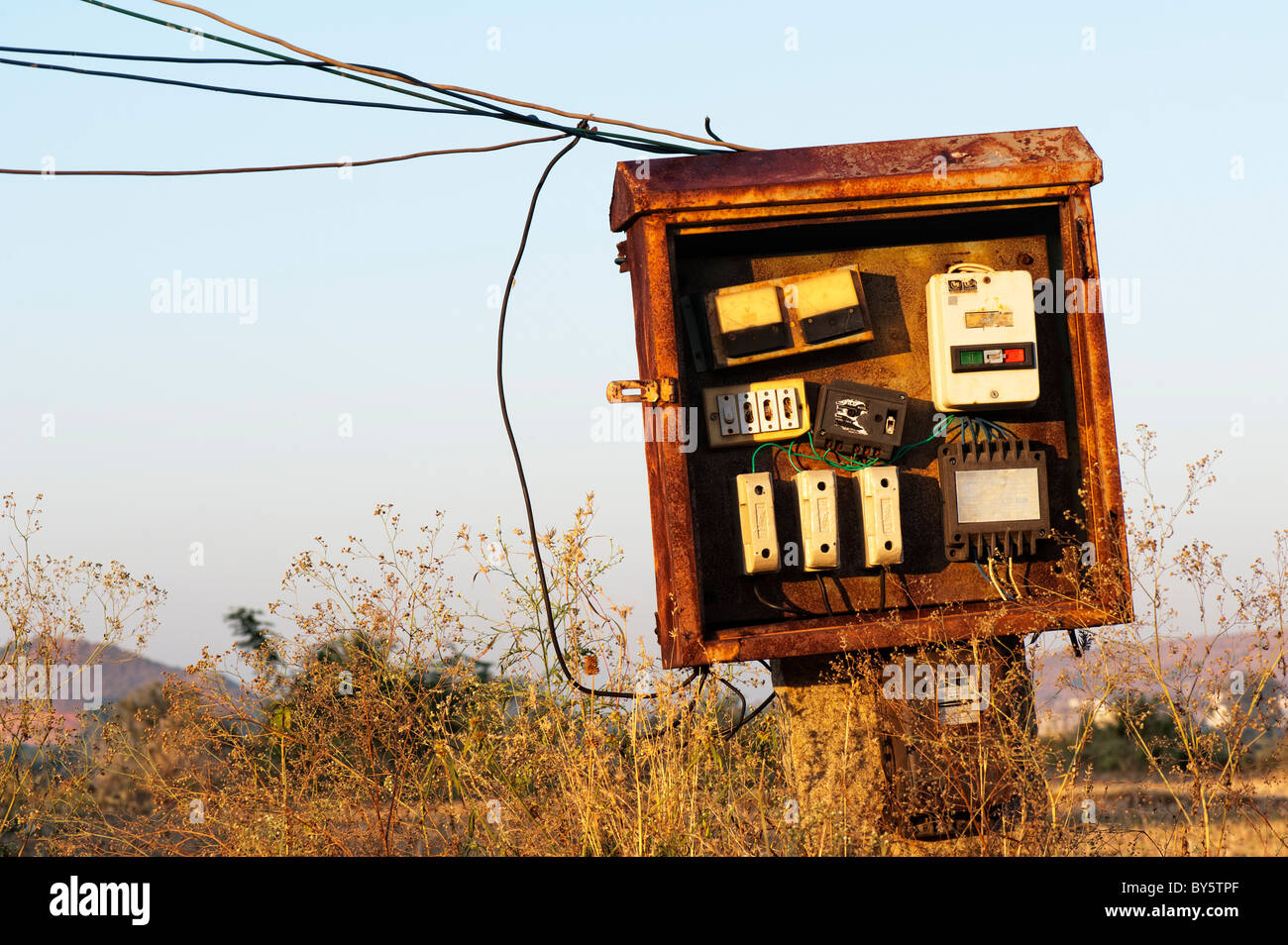 electrical fuse box in the rural indian countryside  andhra pradesh, india  - stock image